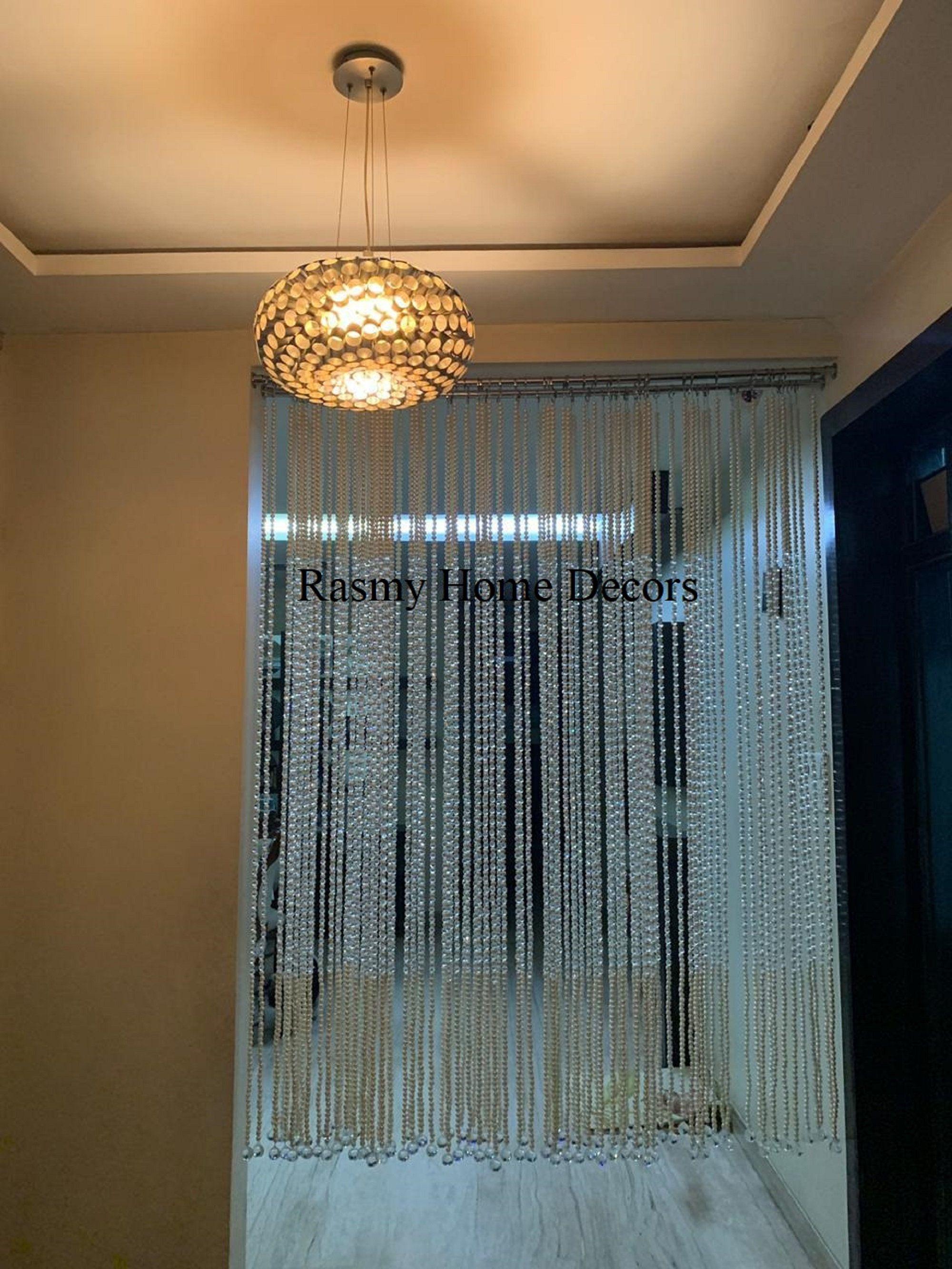 Rasmy Home Decors Acrylic Pearl And Crystal Strings Beads Curtain