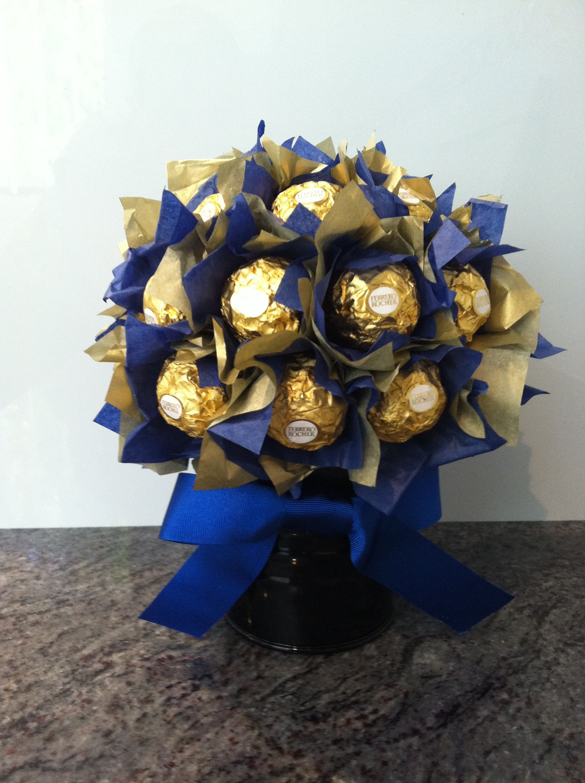 Yum Blue Amp Gold Ferrero Rocher Potted Bloom Blue Amp Gold Graduation Bouquet Chocolate