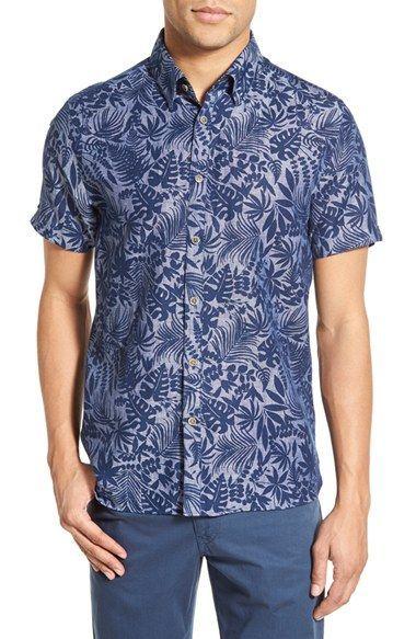 6025579f Ted Baker London 'Subzero' Modern Slim Fit Floral Short Sleeve Sport Shirt