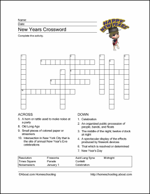 picture regarding New Year Crossword Puzzle Printable named Absolutely free Fresh new Several years Themed Printouts joyful fresh new 12 months Refreshing yr