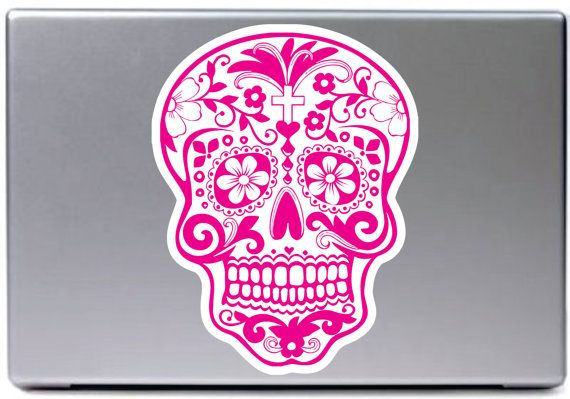 Pink sugar skull car decal sticker art by stickmedecals 8 00