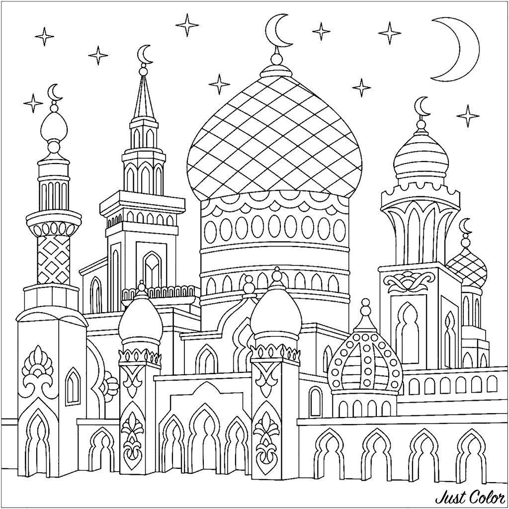 Turkische Moschee Sichelformige Monde Funkelnde Sterne Embroidery Wenn Du Mal Buch Bunte Kunst Zeichenvorlagen