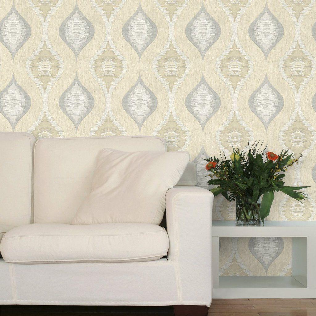 San Marino Ogee Cream and Silver Wallpaper Silver