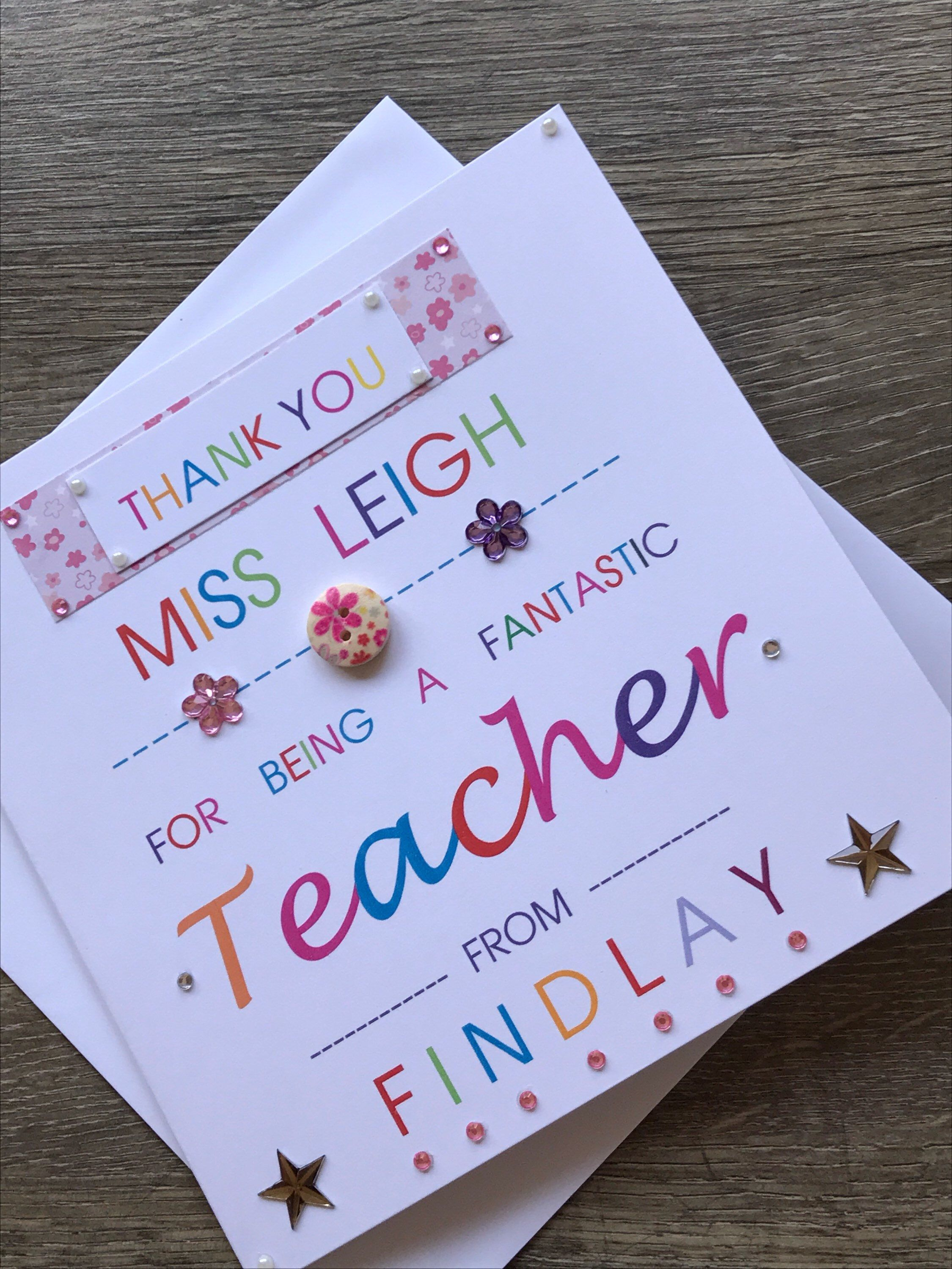 Thank You Teacher Card A Great Teacher Handmade Card Teacher