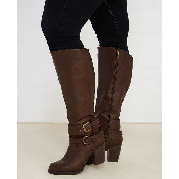 Heeled Boots With Buckle Straps - Wide Width ($31) ❤ liked on Polyvore featuring shoes, boots, cognac, knee-high boots, chunky high heel boots, metal heel boots, knee boots, cognac high heel boots and zip boots
