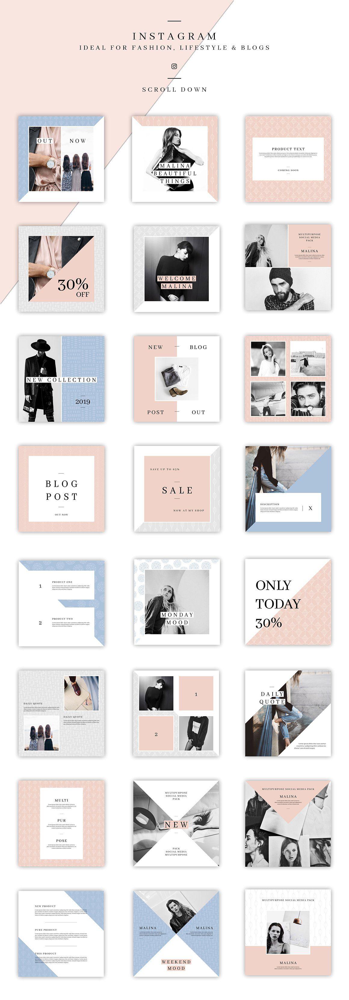 Malina Social Media Pack 20pattern Instagram Design Social Media Pack Social Media Design