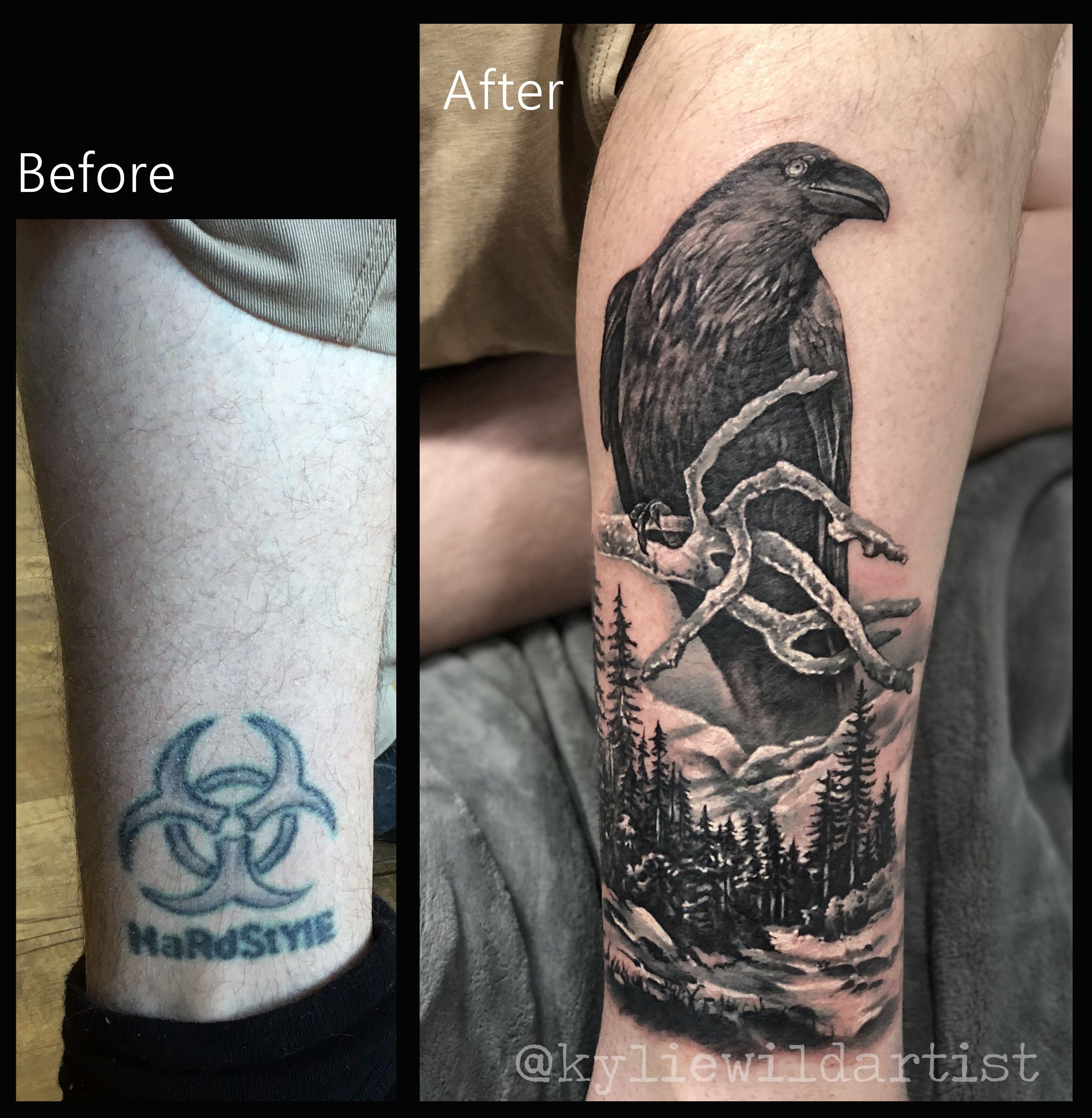 Ankle Tattoo Cover Raven Snow And Mountains Landscape Pine Trees Forest Realistic