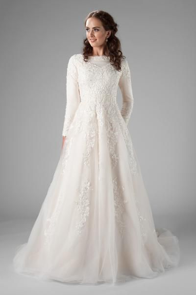 Modest And Fabulous That Long Delicate Sleeve The Floral Intricate Lace Th Modest Long Sleeve Wedding Dresses Wedding Dress Long Sleeve Ball Gowns Wedding