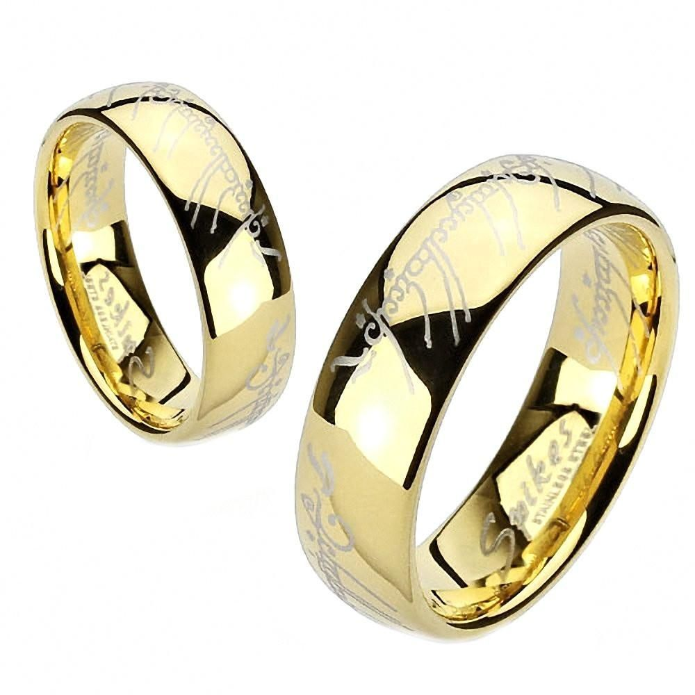 Eregion The One Ring Replica Stainless Steel Ip Gold Comfort Fit Band Fashion Rings Stainless Steel Rings Steel Jewelry
