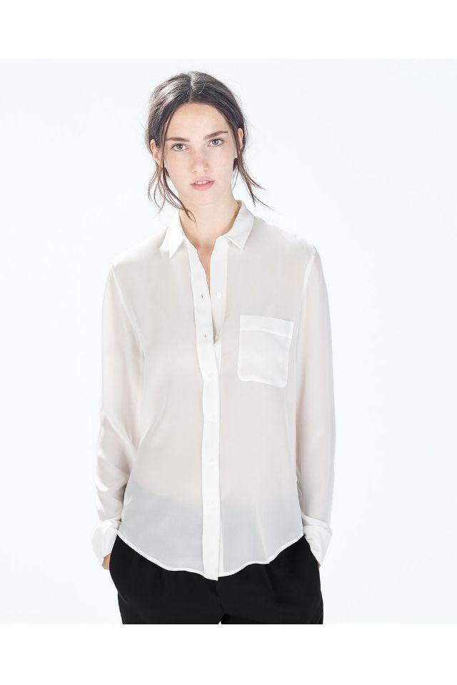 8f3cd7fabe1bdb Zara 100% Silk Shirt   My Style   Zara shirt, Blouse, Zara tops
