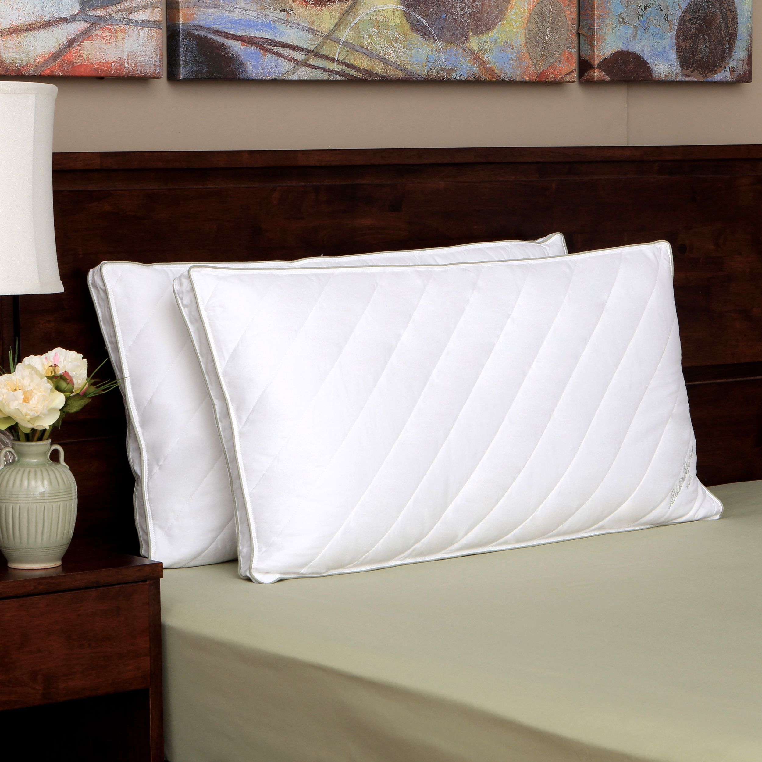 The Ed Bauer medium density quilted down alternative pillow gives
