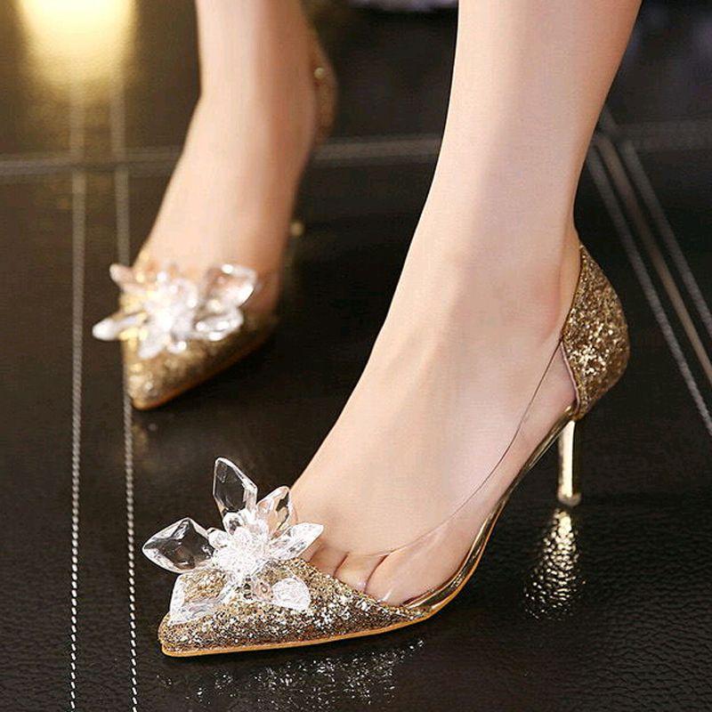 2017 Cinderella Shoes Adults Movie Low Heels Pumps Women Wedding Thin Heel Rhinestone Butterfly Crystal