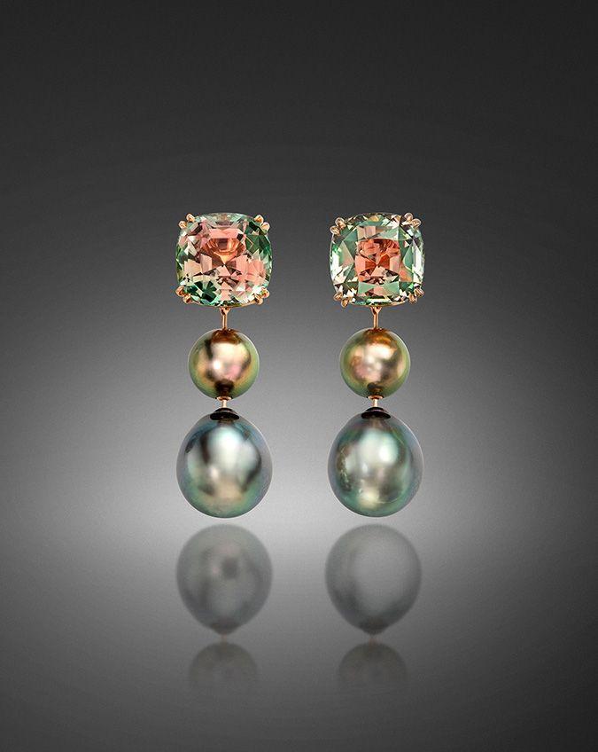 Tahitian Pearl and Bicolor Tourmaline Earrings #pearljewelry