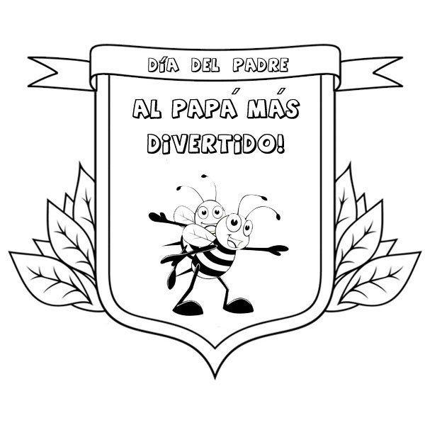 Dibujos para colorear con niños. Medalla al papá divertido | DIA DEL ...