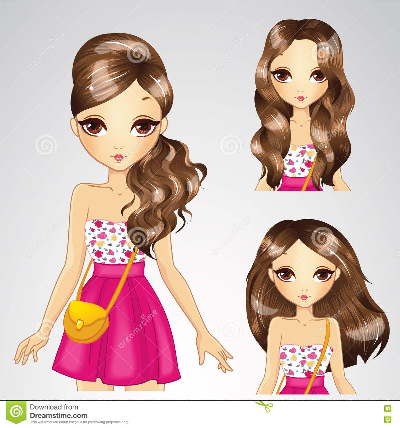 girl-pink-skirt-collection-hairstyle-vector-illustration-brunette-different-hairstyles-73121824.jpg (1300×1390)
