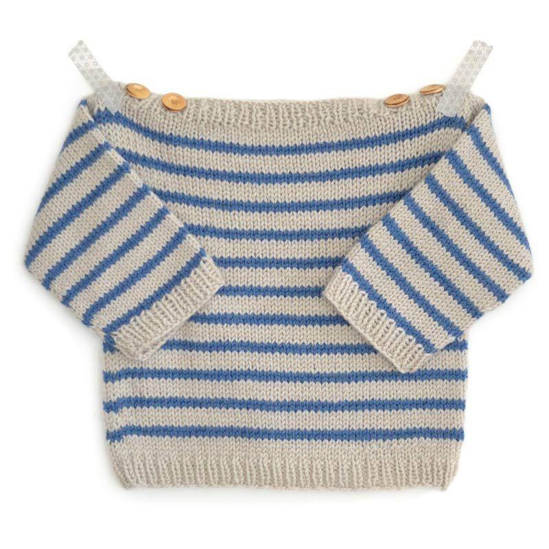 le pull marini re pour b b augustin est tricoter en tailles 3 6 12 18 24 mois ce petit. Black Bedroom Furniture Sets. Home Design Ideas