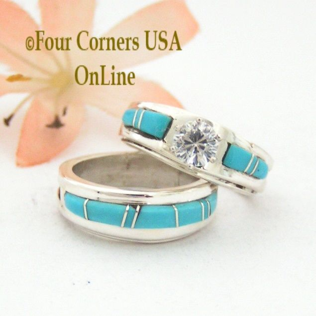 Size 4 1 2 Turquoise Engagement Bridal Wedding Ring Set Native American Wilbert Muskett Jr WS 1520