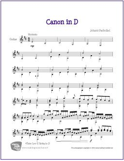 Canon In D Free Sheet Music For Guitar Solo