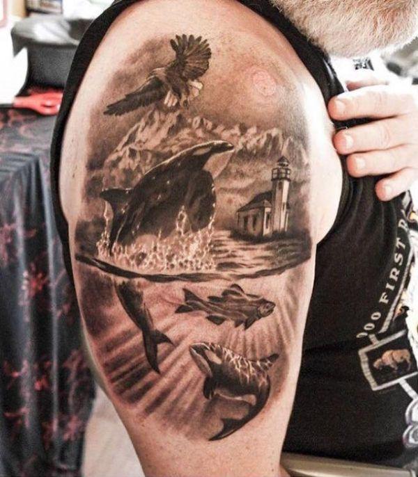 Orca Tattoos Fish Arm - Ideas | Tattoos oberarm, Killerwal ...