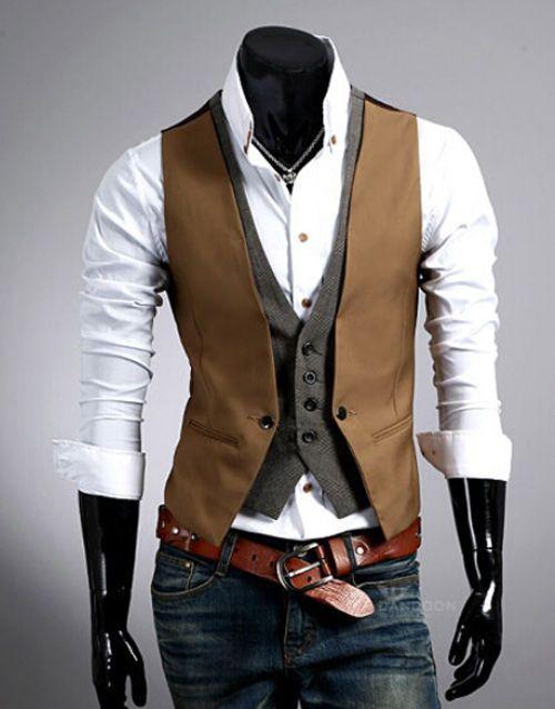 Herren V Neck Weste Clubwear Hochzeit Anzug Jacke Hemd Sakko