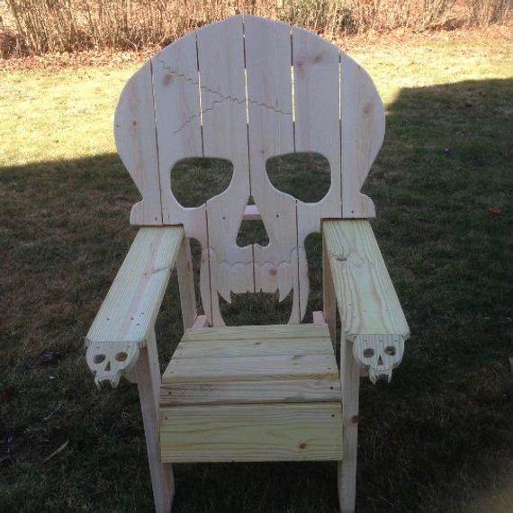 skull chair high danish design adirondack yard furniture solid wood construction skeleton themed huge bi