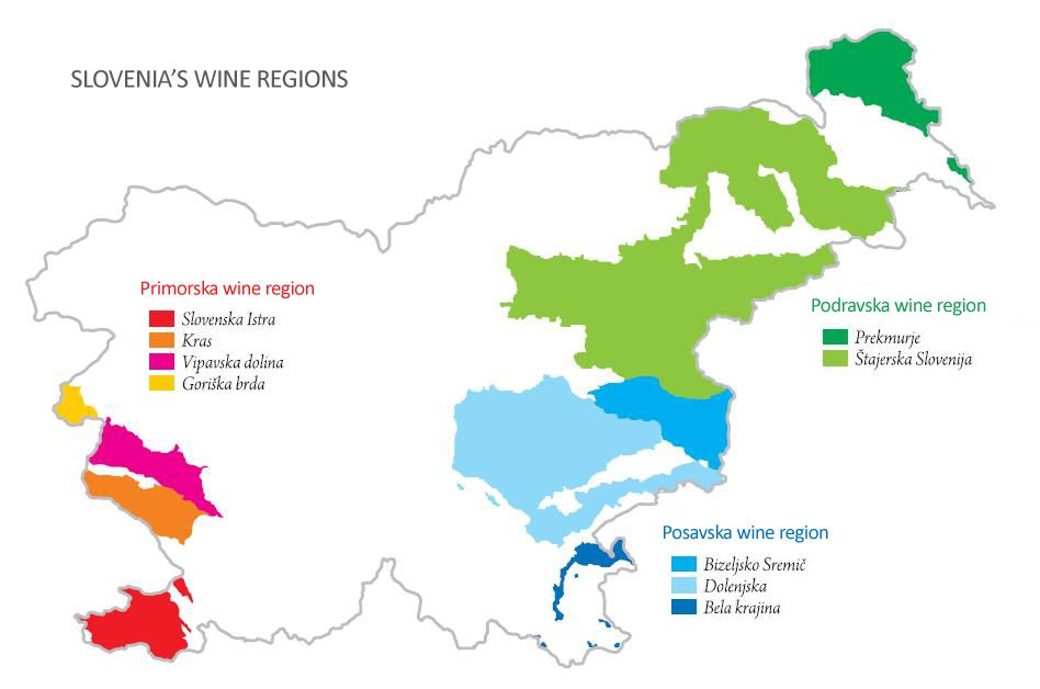 Slovenia's Wine Regions Wine map, Wine region, Wine
