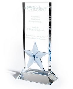 "Optic Crystal Award w/ Light Blue Accent (4""x8""x2"")"