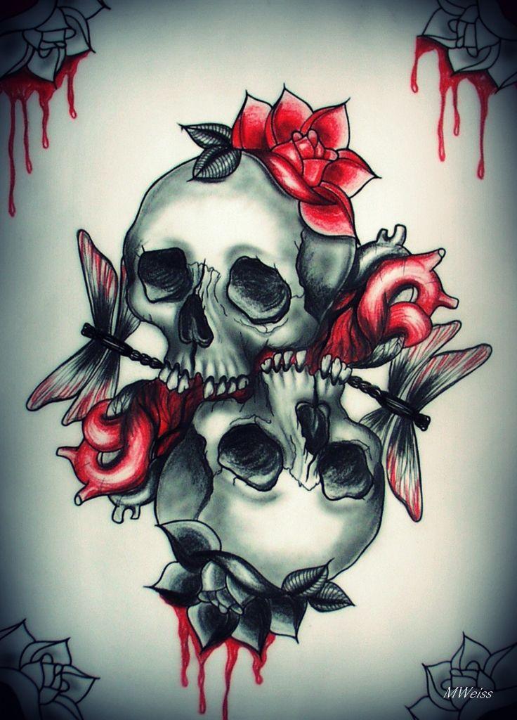 Love You To Tattoo Flash Skulls By Oldskulllovebymw On Deviantart