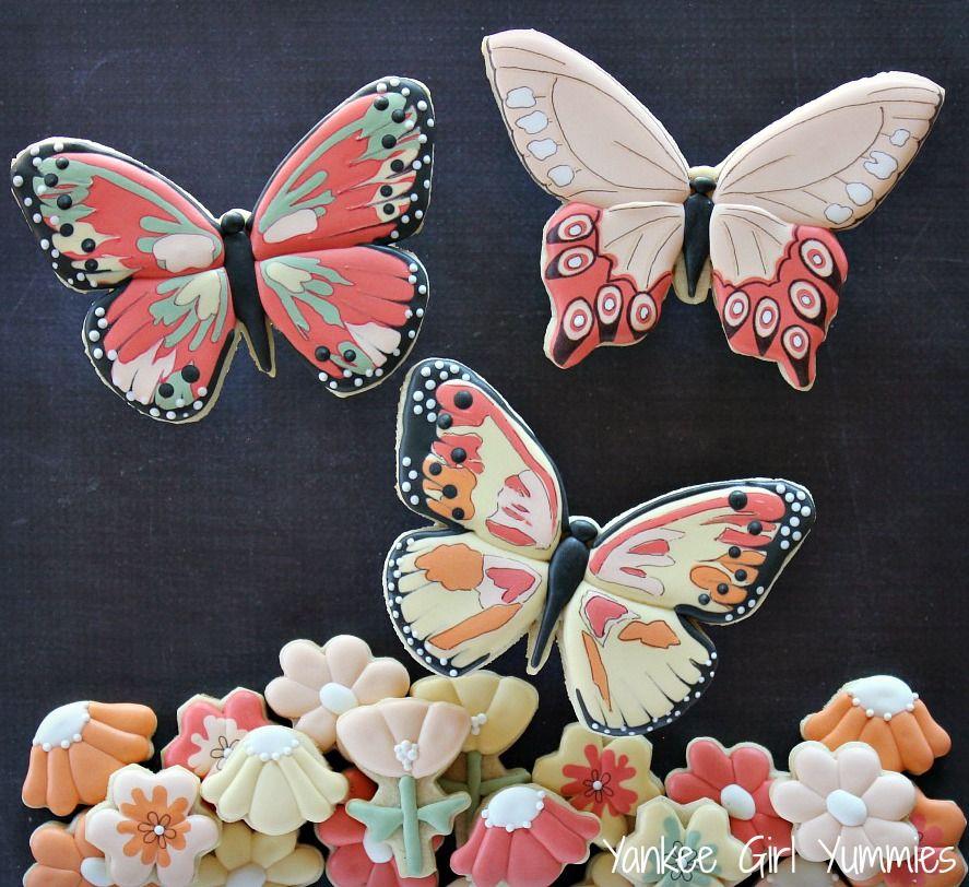 Butterflies and Flower Cookies | Yankee Girl Yummies