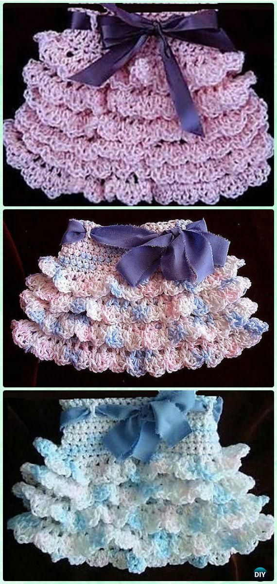 Crochet Ruffled Skirt Free Pattern [Video]- #Crochet Girls Skirt ...