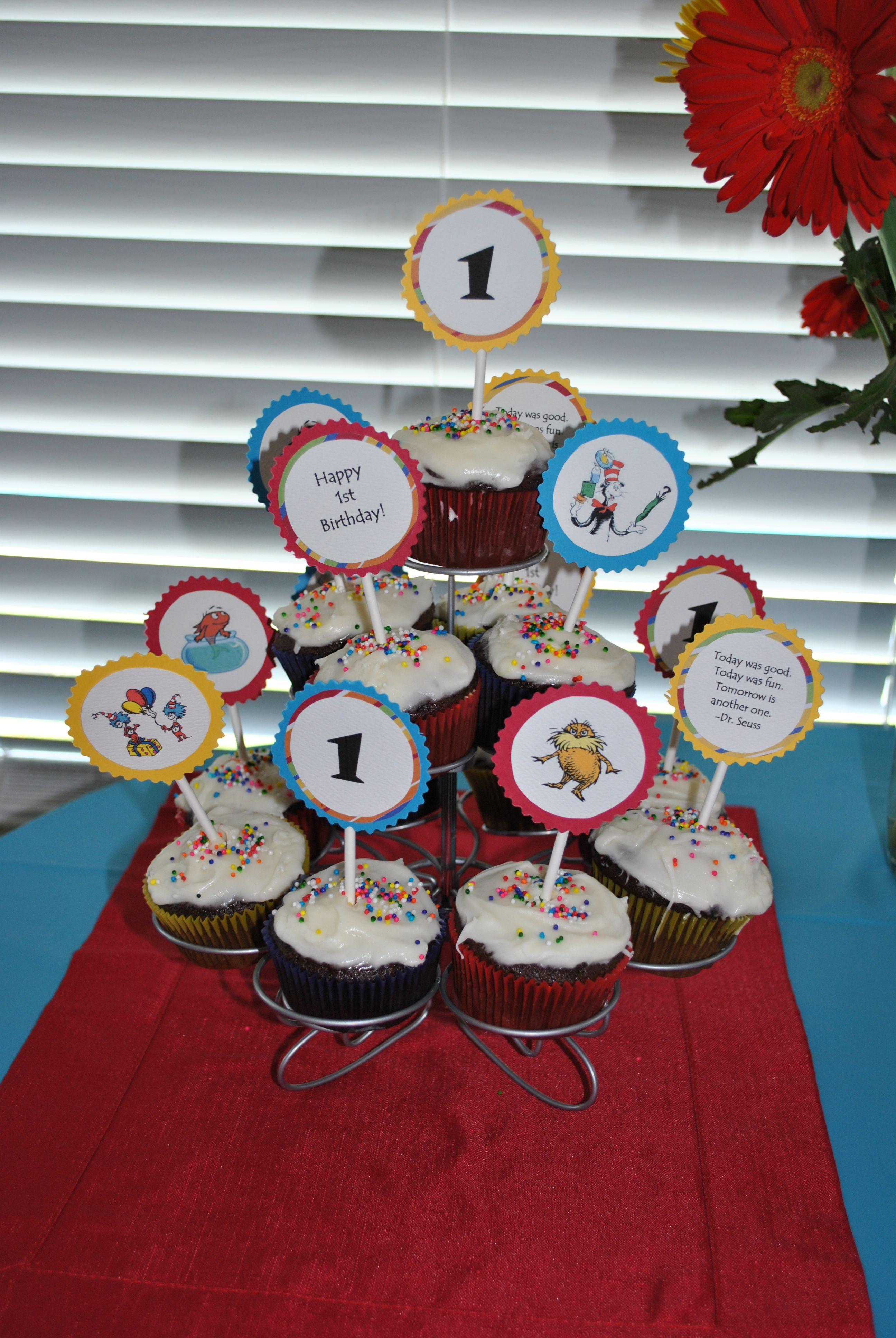 Dr seuss themed cupcake tower happy 1st birthdays
