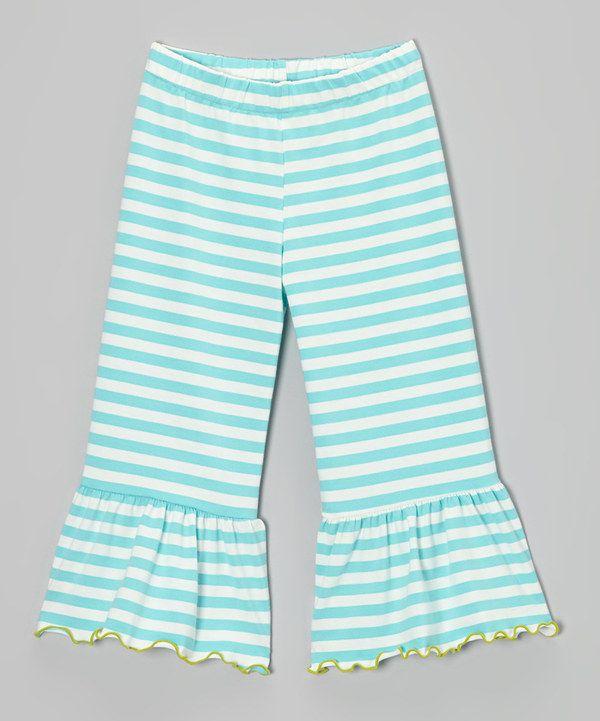 8746cfe6e24855 Love this Teal Stripe Ruffle Capri Pants - Toddler & Girls by Tutu & Lilli  on #zulily! #zulilyfinds