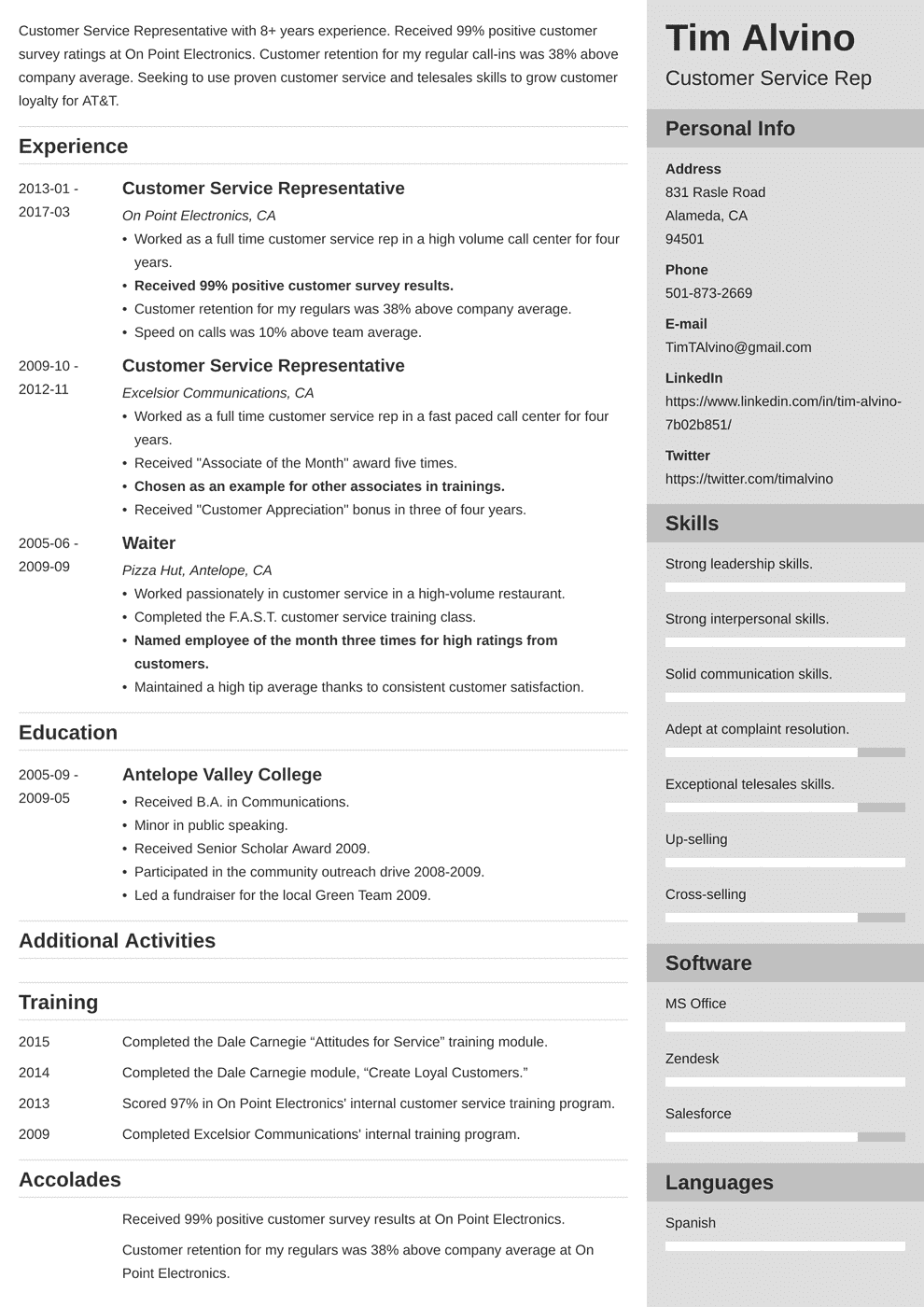customer service resume template enfold in 2020 Resume