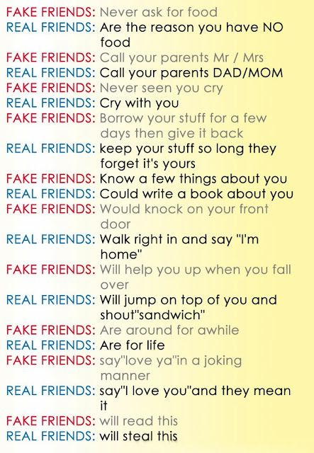 true friends and fake friends