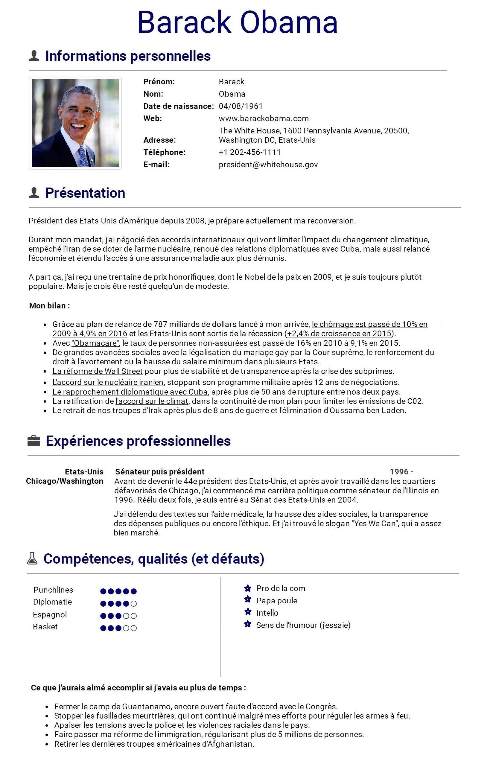 Le CV de Barack Obama, qui sera bientôt au chômage | Barack obama