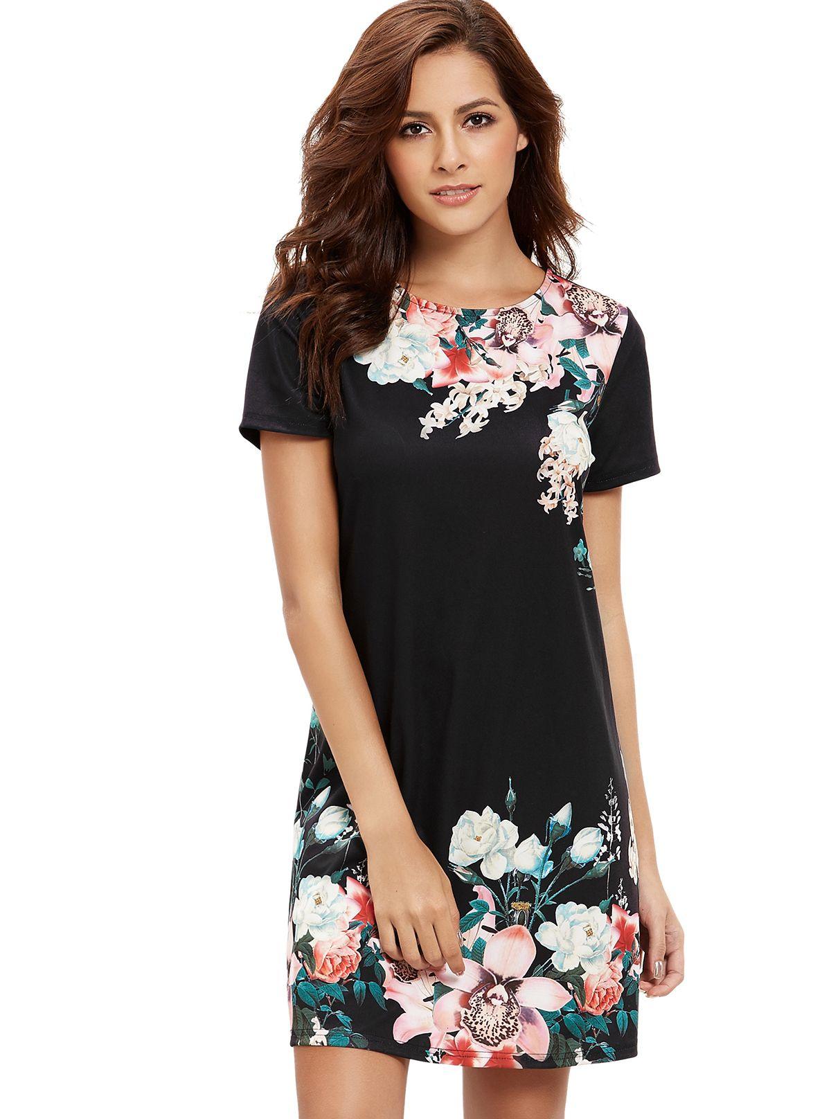 fadc6c53cc5 Round Neck Floral Print Shift Dress