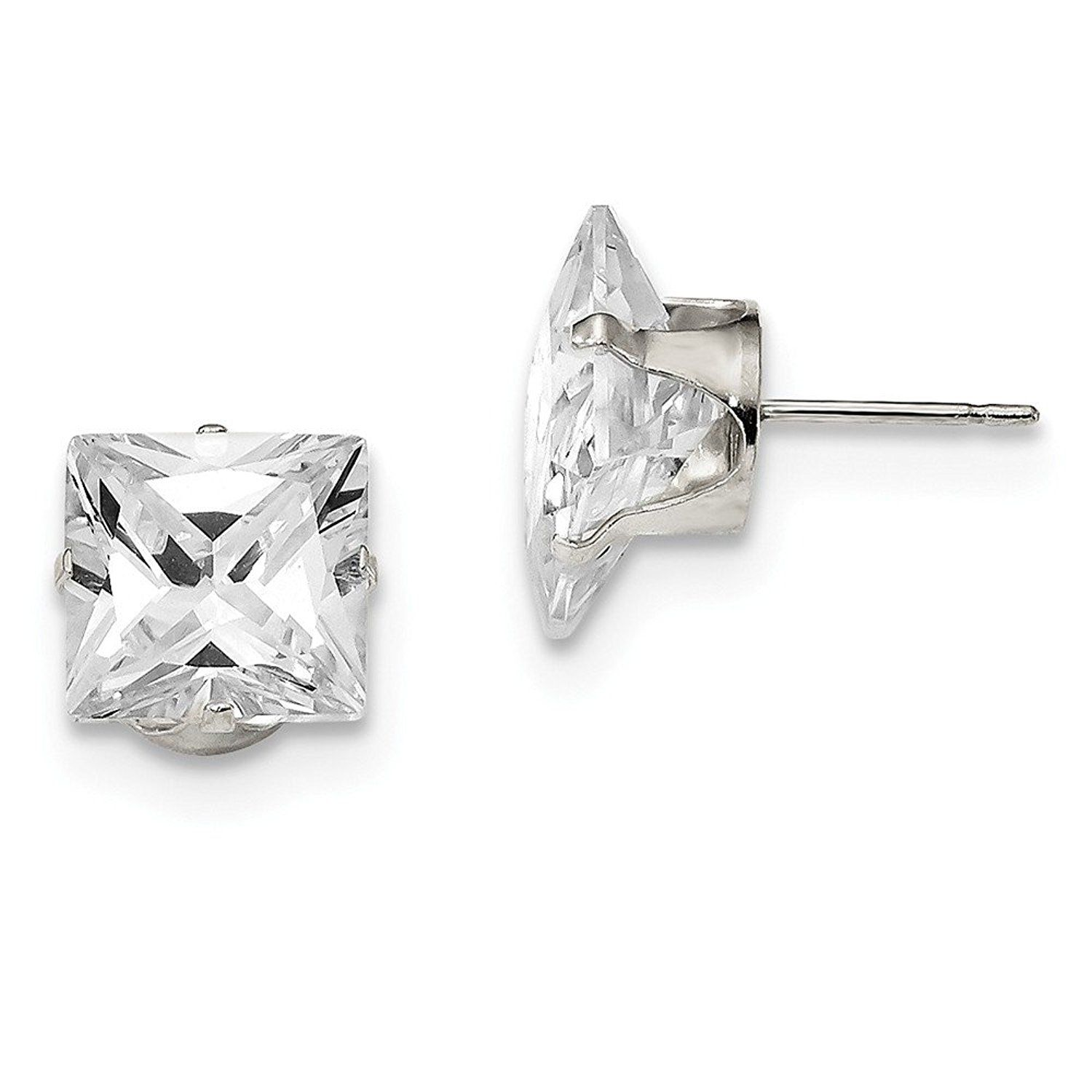 Ice Carats 925 Sterling Silver 10mm Square Cubic Zirconia Cz 4 Prong Stud Ball Button Earrings Radiant Fine Jewelry Gi Square Cz Cz Stud Earrings Stud Earrings