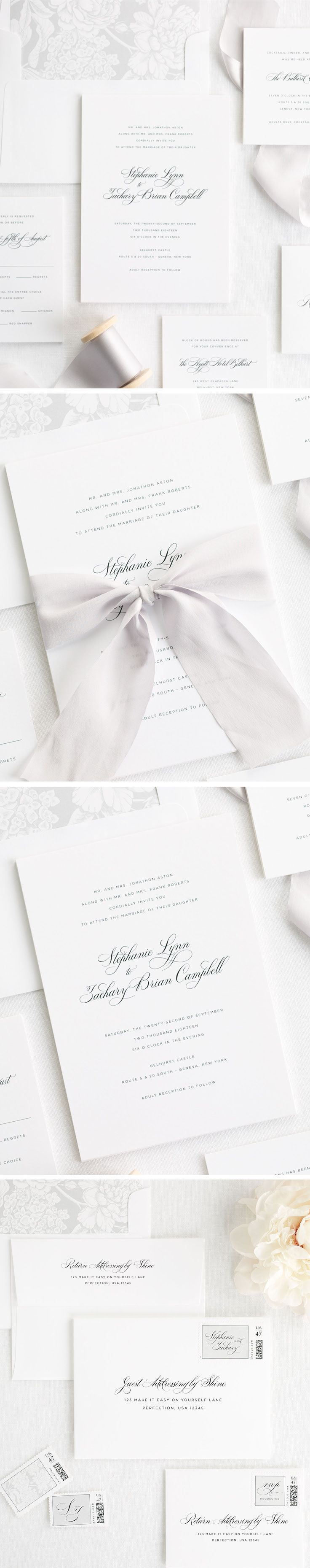 Delicate Elegance Ribbon Wedding Invitations | Weddings