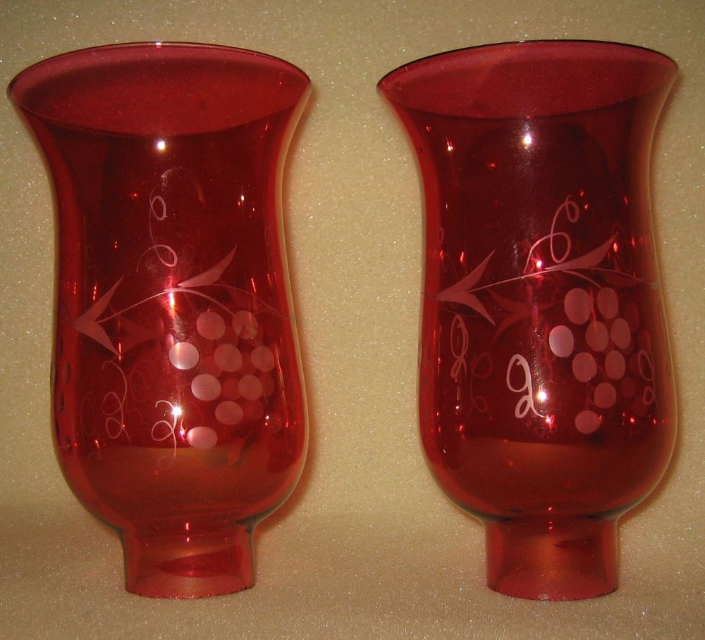 Vtg Pr 6 1 2 Quot Hurricane Lamp Chimney Shade Globes Ruby