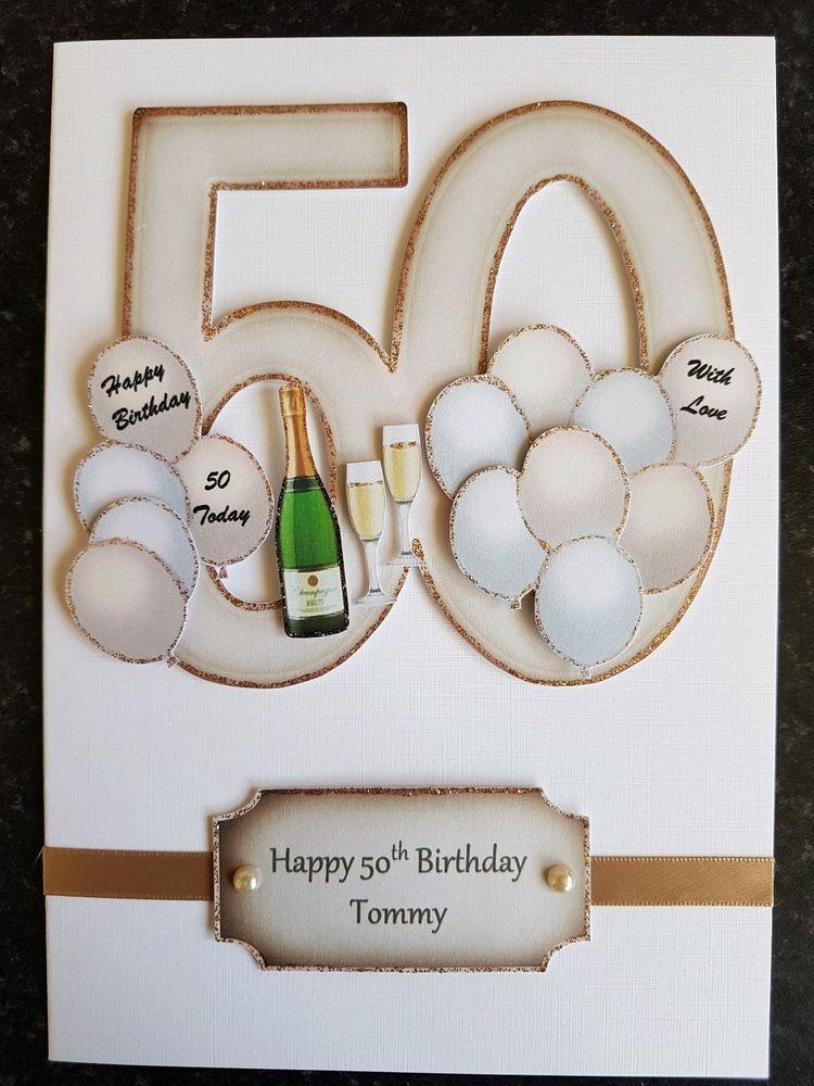 Handmade In Uk Luxury 50th Birthday Card Personalised Keepsake