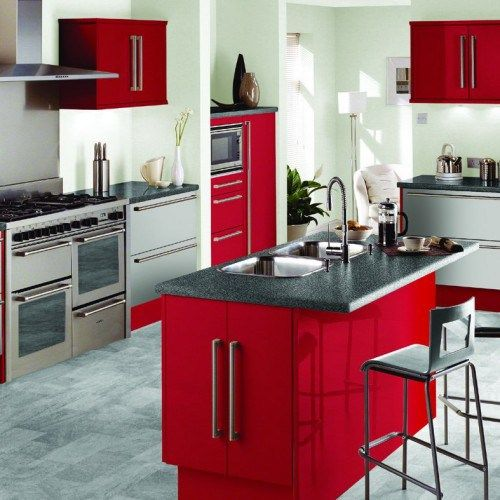 Modern Red Kitchen Ideas Custom Decorating Design