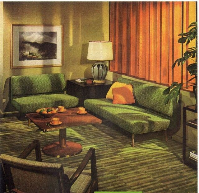 Living Room 1950s a 1951 livingroom forecasts the 70s! :) #vintage #home #decor