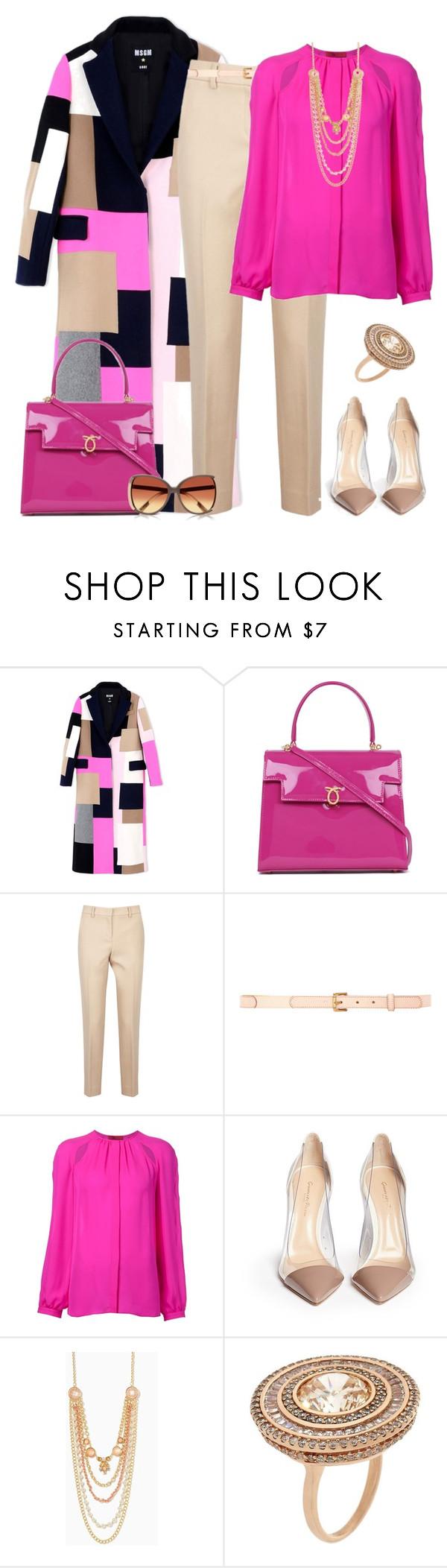 """outfit 2592"" by natalyag ❤ liked on Polyvore featuring MSGM, Launer, DKNY, Nina Ricci, Tamara Mellon, Gianvito Rossi, CARAT* and River Island"
