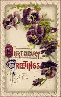 Victorian pansies postcard