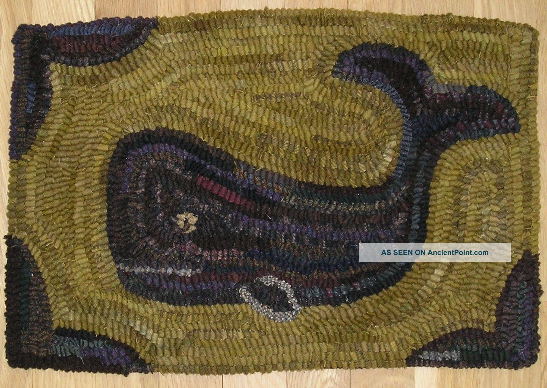 hand hooked rug ~ primitive whale rug~ primitives photo | hooked