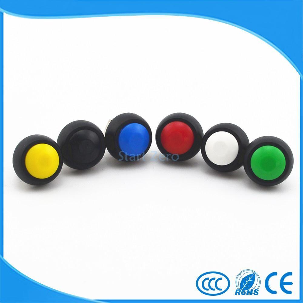 5 Pz Nero/Rosso/Verde/Giallo/Blu 12mm Impermeabile Momentaneo Push button Switch