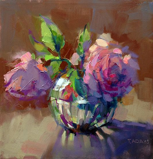 Crystal Vase With Roses By Trisha Adams Oil 12 X 12 Pinturas A