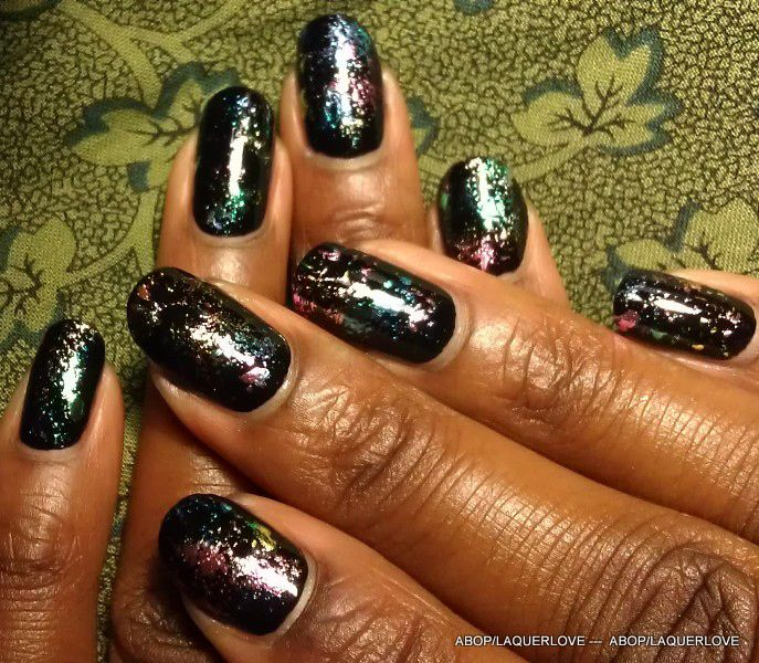 Wow! From ANOTHER Bottle of Polish?!: Nail foil by sponging on glue
