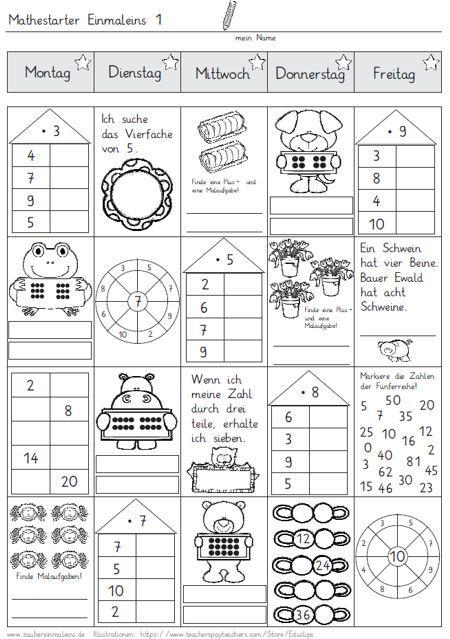 Mathestarter 1x1 - Woche 1 und 2 (Zaubereinmaleins - DesignBlog ...