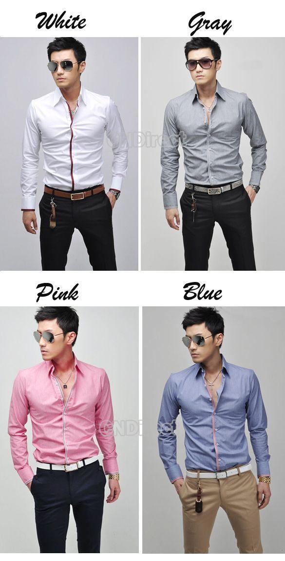 2012 New Korean Men's Fashion Stylish Casual shirts Slim Fit Long Sleeve Shirt Tops 4 Color 4 Size